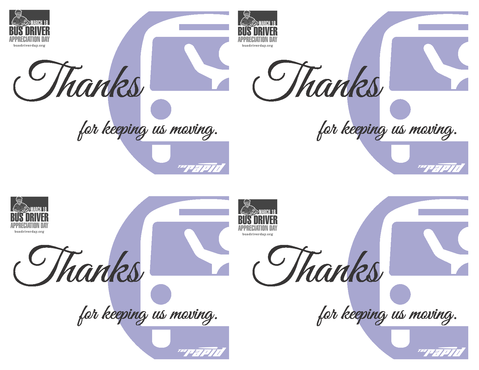graphic about Bus Driver Thank You Card Printable named Bus Driver Appreciation Working day is March 16, 2018