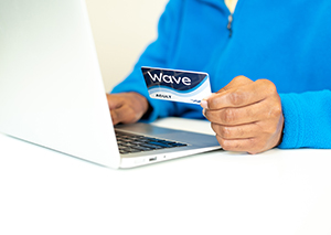 Wave Card at Laptop