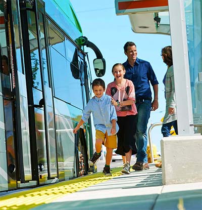 Family boarding silver line bus