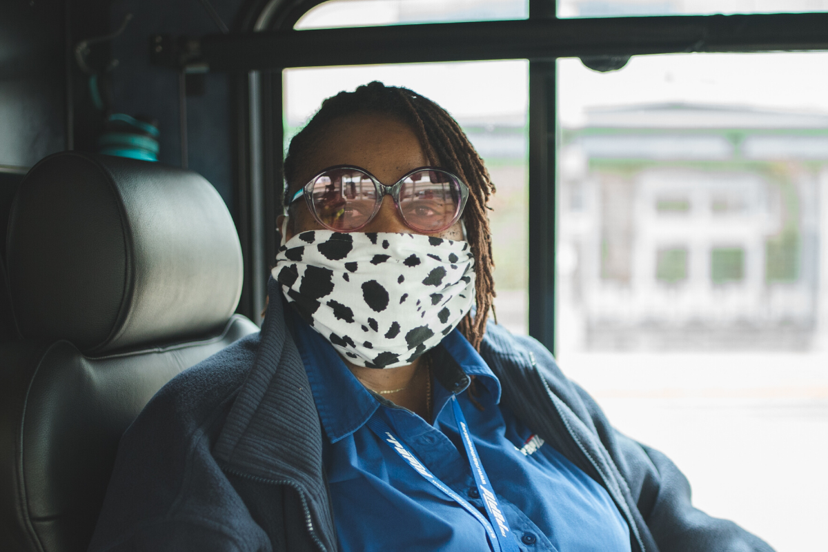 Bus Operator Wearing a Mask